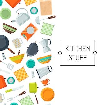 Fundo de ícones plana de utensílios de cozinha