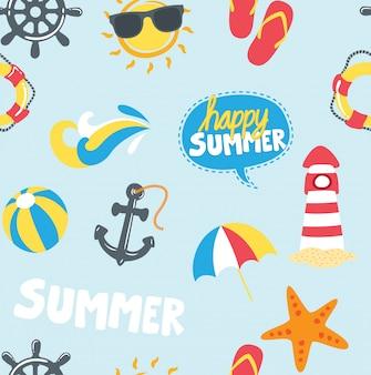 Fundo de ícones temáticos de verão