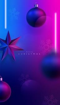 Fundo de iluminação neon rosa e azul de natal