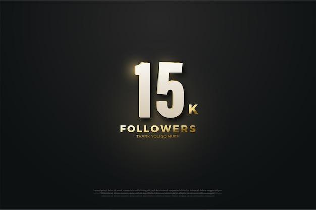 Fundo de ilustração de 15k seguidores com figuras iluminadas em meio a um fundo escuro.