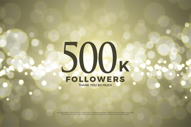 Fundo de ilustração de 500 mil seguidores com papel dourado