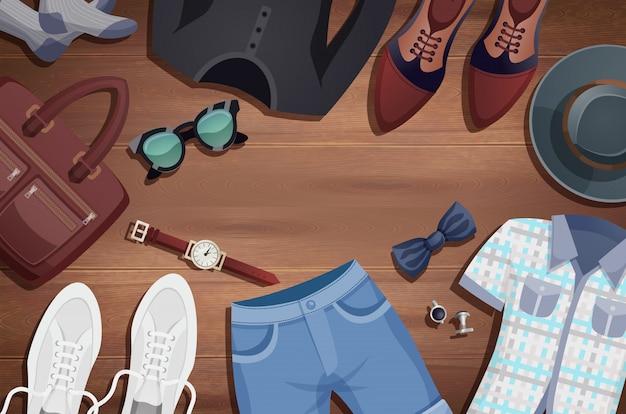 Fundo de ilustração de acessórios masculinos