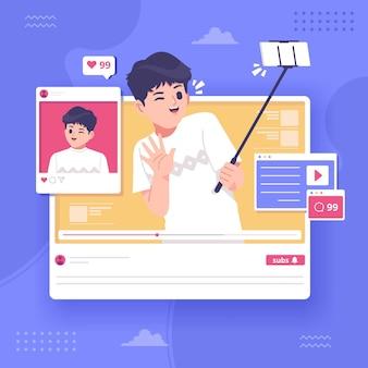 Fundo de ilustração de conceito de blogger de vídeo streaming