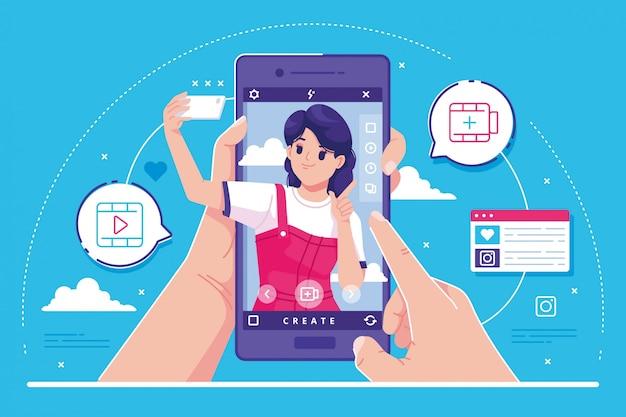 Fundo de ilustração de conceito de mídia social