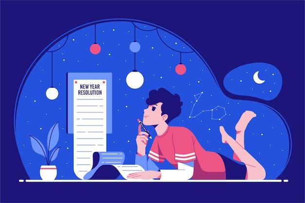 Fundo de ilustração de conceito de resolução de ano novo
