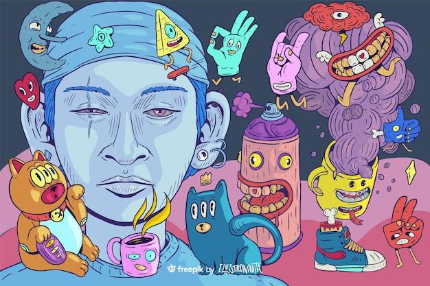 Fundo de ilustração de criaturas coloridas e assustadoras
