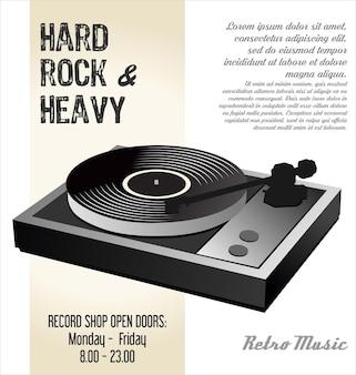 Fundo de ilustração de disco lp de vinil de gramofone