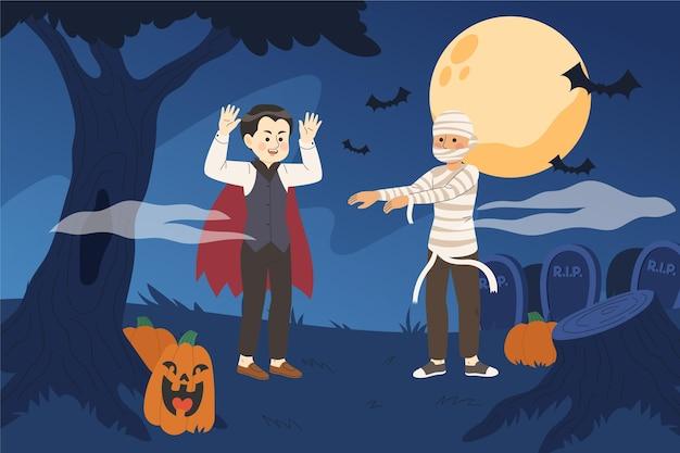 Fundo de ilustração de halloween desenhado à mão