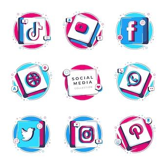 Fundo de ilustração de ícones de mídia social