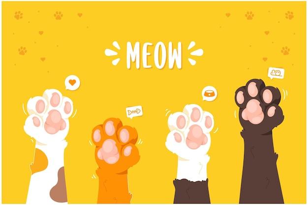 Fundo de ilustração de miau de pata de gato fofo