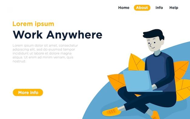 Fundo de ilustração de página de aterragem de espaço de trabalho