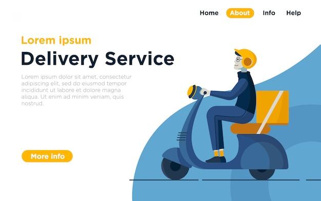 Fundo de ilustração de página de destino de serviço de entrega