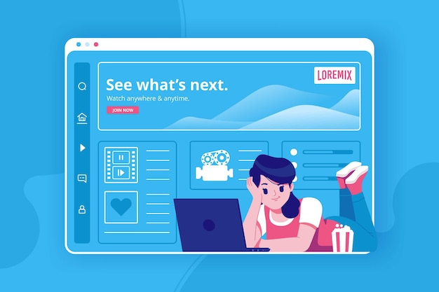 Fundo de ilustração de streaming de filmes online