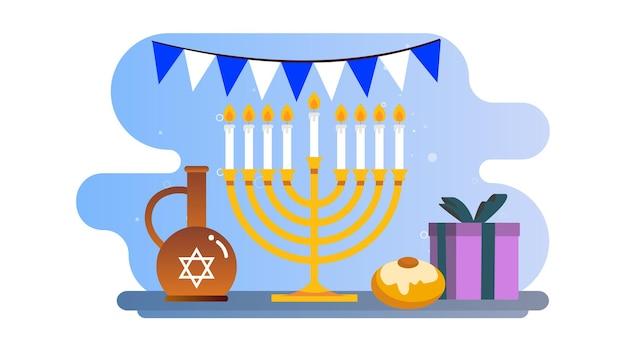 Fundo de ilustração feliz de hanukkah