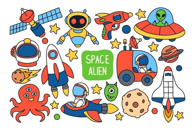 Fundo de ilustração isolado do espaço doodle