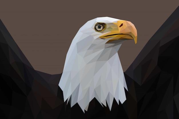 Fundo de ilustração lowpoly de águia americana
