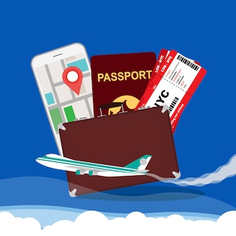 Fundo de ilustração vetorial conceito de viagens
