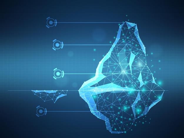 Fundo de ilustração vetorial de tecnologia futurista de iceberg