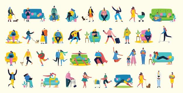 Fundo de ilustração vetorial em design plano de grupo de pessoas fazendo atividades diferentes
