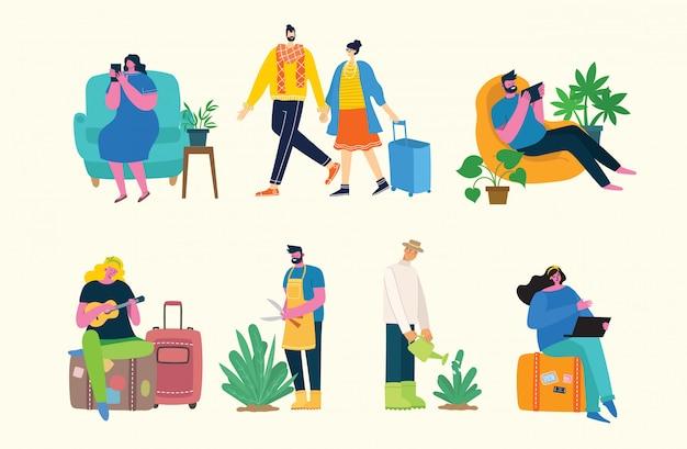 Fundo de ilustração vetorial no design plano de pessoas do grupo fazendo atividades diferentes no estilo liso