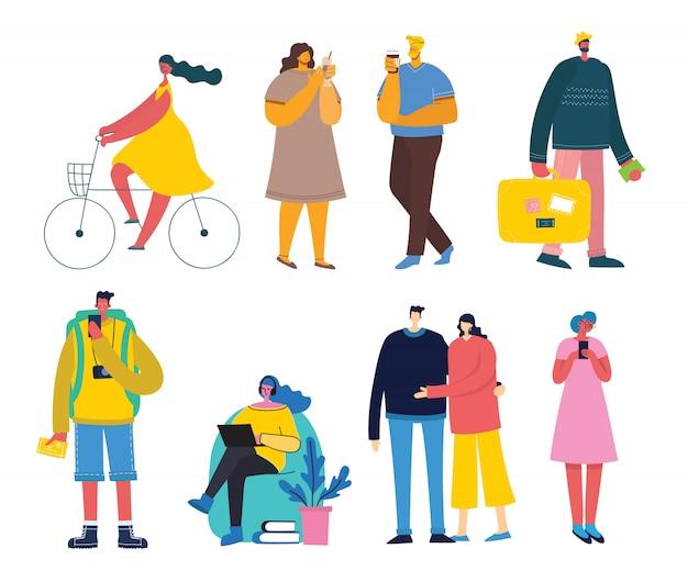 Fundo de ilustração vetorial no design plano de pessoas do grupo fazendo atividades diferentes Vetor Premium