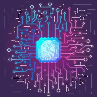 Fundo de impressão digital de néon