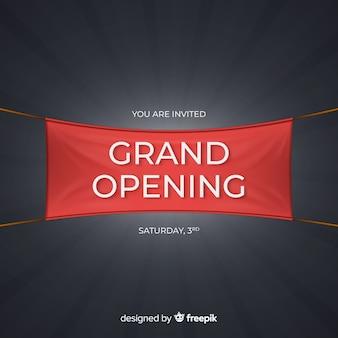 Fundo de inauguração com banner realista