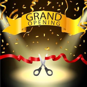 Fundo de inauguração com confete de holofotes e ouro
