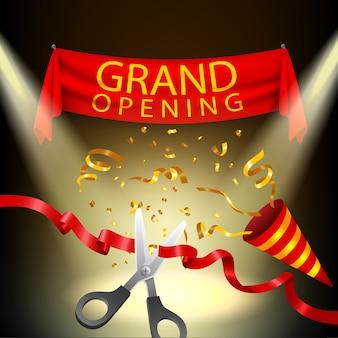 Fundo de inauguração com confete popper e ouro