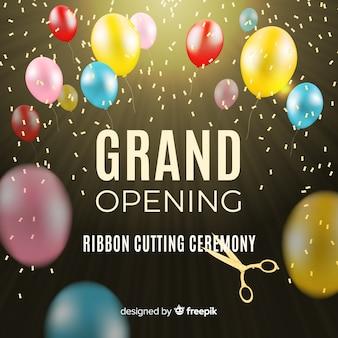 Fundo de inauguração de balões coloridos realistas