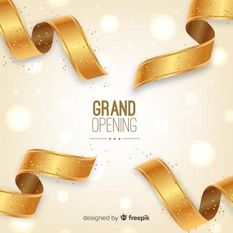 Fundo de inauguração de fita dourada realista
