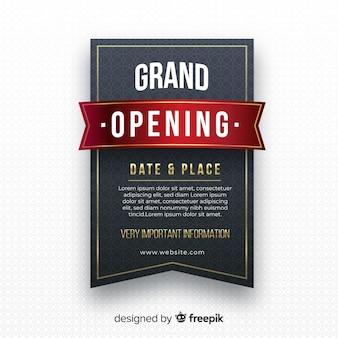 Fundo de inauguração de rótulo preto realista