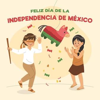 Fundo de independência do méxico desenhado à mão