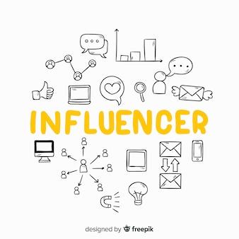 Fundo de influência social doodle