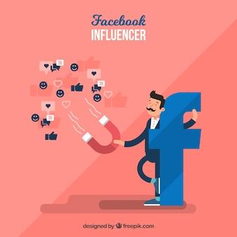 Fundo de influenciador do facebook com emoticons
