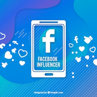 Fundo de influenciador do facebook em cores gradientes
