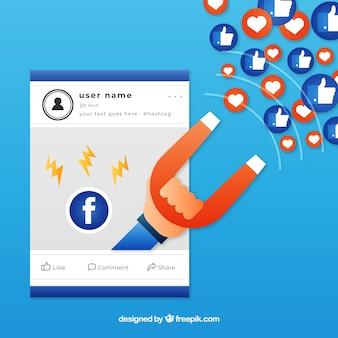 Fundo de influenciador do facebook em cores gradientes