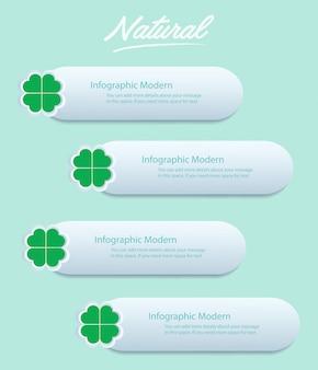 Fundo de infográfico de folha de trevo verde