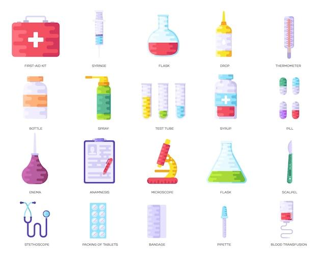 Fundo de informações do medicamento. conjunto de conceito médico clínico infográfico.