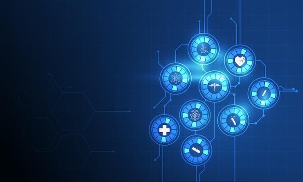 Fundo de inovação médica de padrão de ícone de cuidados de saúde