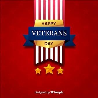 Fundo de insígnias douradas do dia dos veteranos
