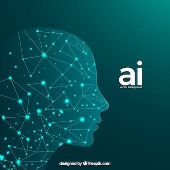 Fundo de inteligência artificial com cabeça