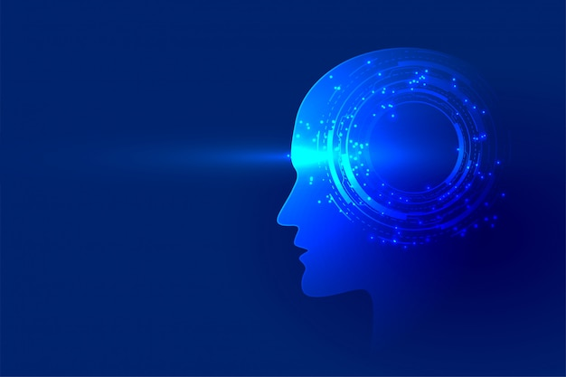 Fundo de inteligência artificial de rosto de tecnologia digital
