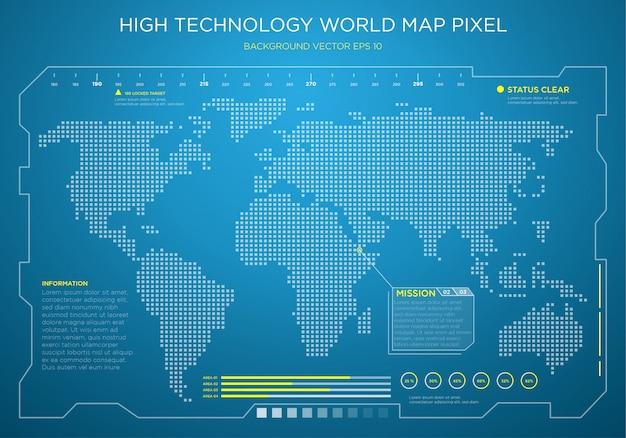 Fundo de interface digital de mapa de mundo de alta tecnologia