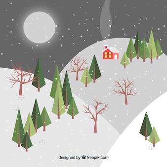 Fundo de inverno à noite colina