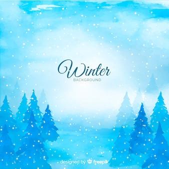 Fundo de inverno aquarela tons frios