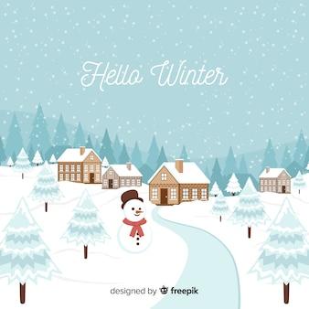 Fundo de inverno boneco de neve