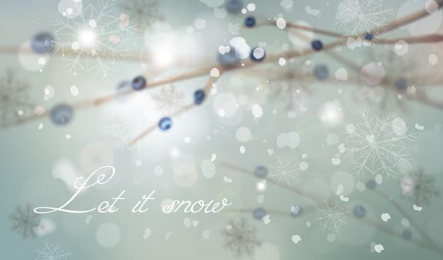 Fundo de inverno com decorações de galho de árvore