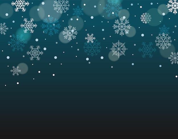 Fundo de inverno com flocos de neve com espaço em branco para um texto. ilustração vetorial