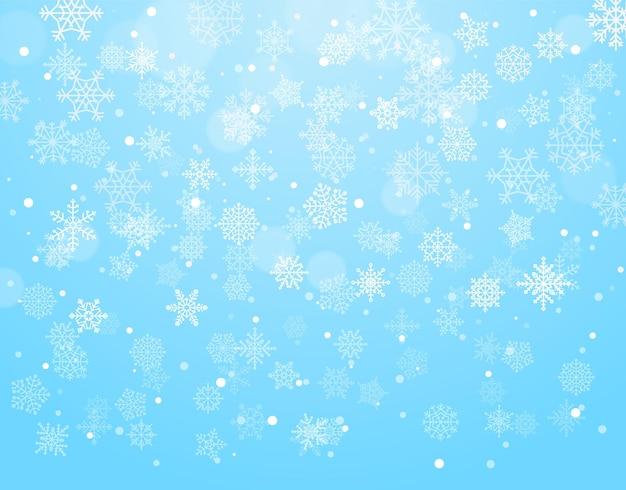 Fundo de inverno com flocos de neve. ilustração vetorial